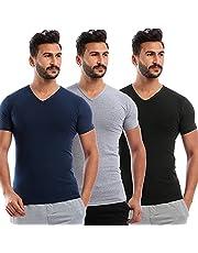 V-Neck Short Sleeve Solid Undershirt for Men, Set of 3 - - 2725612498967