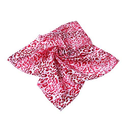 Premium Silk Feel Animal Print Square Satin Scarf, Red Leopard (Red Cheetah)