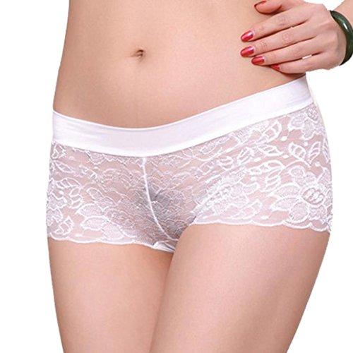 Price comparison product image Leegor Women's Breathable Lace Panties Underwear Transparent Comfort Boxer Briefs (White)