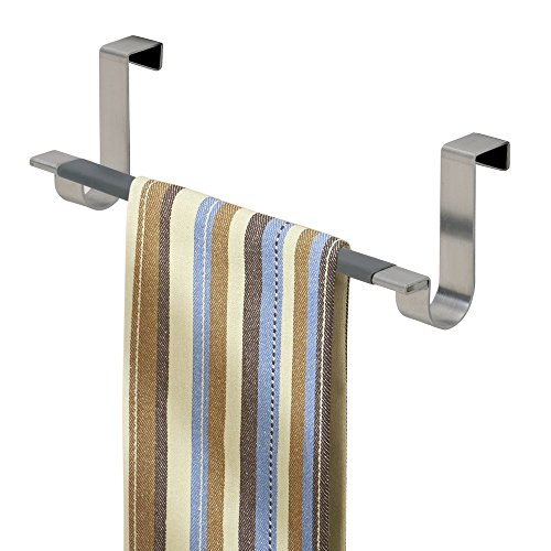 mDesign Over the Cabinet Kitchen Dish Towel Bar Holder - Brushed Stainless Steel