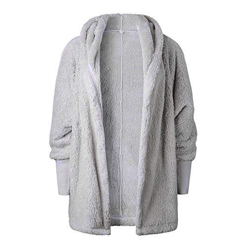 AIMEE7 Manteau Femme Grande Taille en Peluche Manche Longue Sweat Capuche Pullover Gris