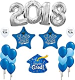 Combined Brands Blue 2018 Graduation Balloon Silver Decoration Kit