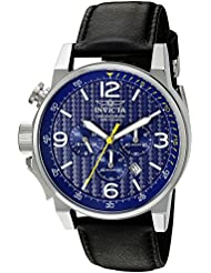 Invicta Mens I-Force Quartz Stainless Steel and Black Leather Casual Watch (Model: 20131)