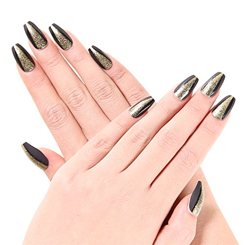 Ejiubas 24 Pcs Matte Black with Glitter Full Cover Squaletto Talone Medium False Nail Tips with 1pcs Glue for