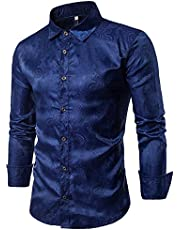 Cloudstyle Men's Embroidery Pattern Lapel Long Sleeves Shirts XXL