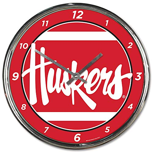 - Nebraska Huskers Round Chrome Wall Clock--(Package of 2)