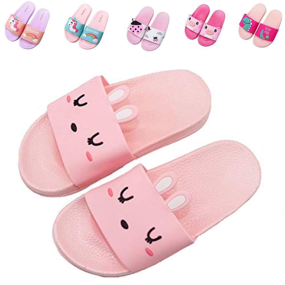 Kids Unicorn Summer Slides Sandals Non-Slip Lightweight Boys Girls Beach Water Shoes Pool Bath Slippers (Toddler/Little Kid) (1 Little Kid, Pink Bunny)