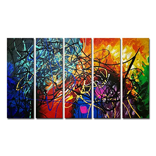 Original Contemporary Abstract Painting - Wieco Art Large Modern 5 Panels 100% Hand Painted Gallery Wrapped Contemporary Abstract Oil Paintings Reproduction Artwork on Canvas Wall Art Ready to Hang for Home Office Decorations Wall Decor