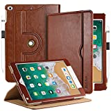 EasyAcc Case for iPad 9.7 2018 2017 iPad Air iPad Air 2 - [360 Degree Rotating 100% PU Leather Made by Hand No Plastic Content] and Document Card Slots - with Auto Wake Sleep - Durable to Use - Brown