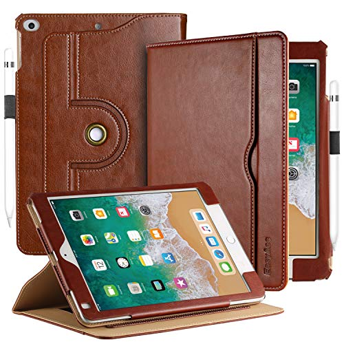 (EasyAcc Case for iPad 9.7 2018/2017/ iPad Air/iPad Air 2, [360 Degree Rotating/ 100% PU Leather Made by Hand/No Plastic Content] and Document Card Slots, with Auto Wake/Sleep, Durable to Use - Brown)
