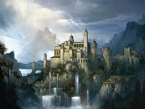 MEDIEVAL CASTLE Oil Painting On Canvas Modern Wall Art Pictures For Home Decoration Wooden Framed (24X36 Inch, Framed)