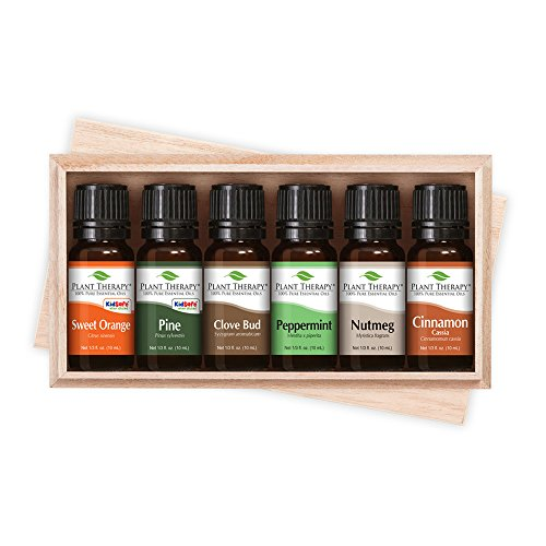 (Plant Therapy 'Tis the Season Essential Oil Holiday Gift Set. Includes: Clove Bud, Pine, Sweet Orange, Nutmeg, Peppermint and Cinnamon. 10 mL (1/3 Ounce) each.)