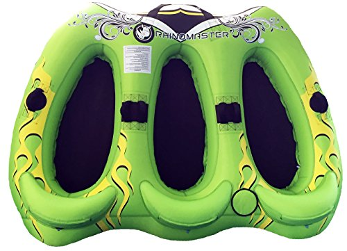 - RhinoMaster Tough Viperfish 3-Person Inflatable Towable Boating, Green/Black, 71 x 94
