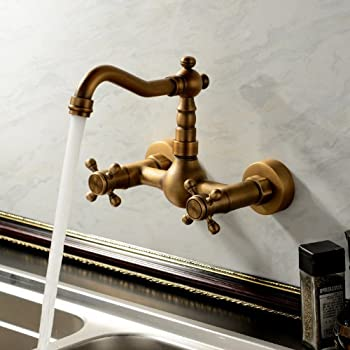 European Style Vintage Wall Mount Kitchen & Bathroom Faucet with Double Cross Handle, Antique Brass Ys65960