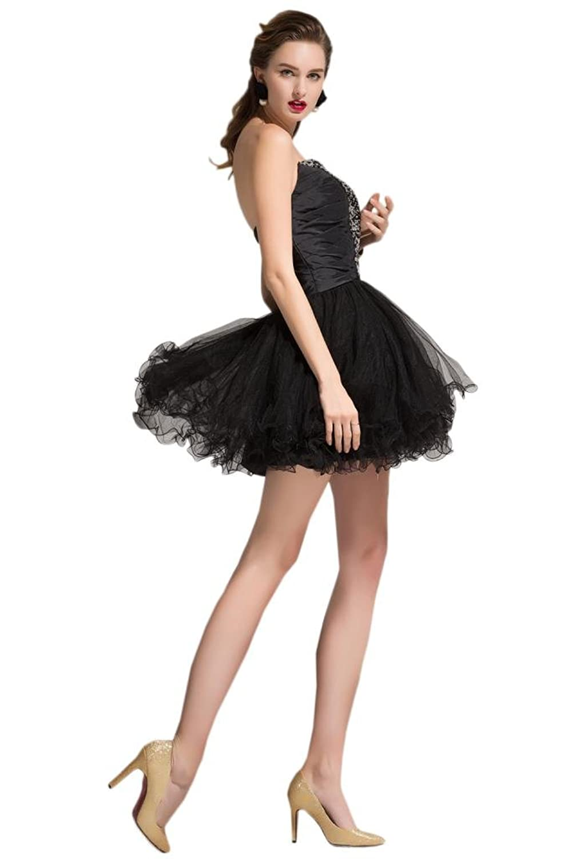 Sunvary Taffeta Tulle Black Sweetheart Party Cocktail Dresses for Women
