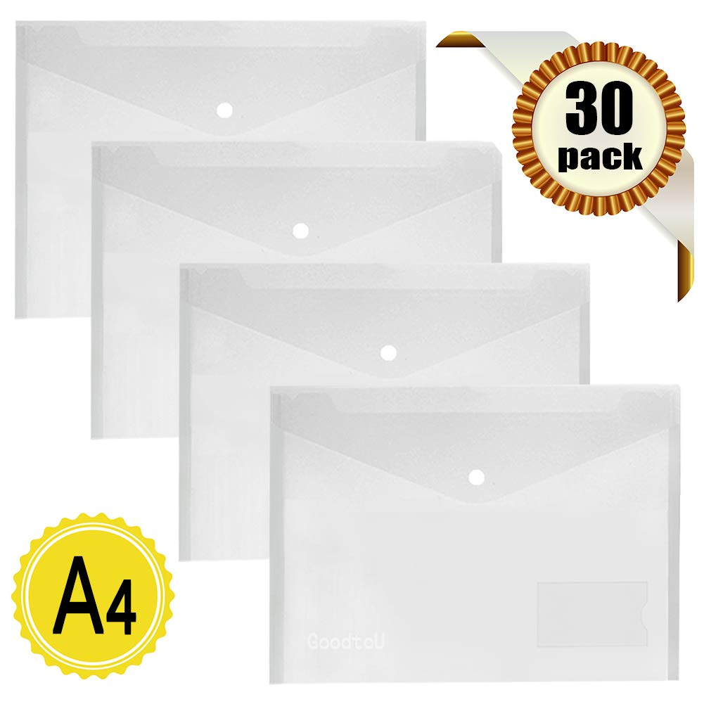Clear Plastic Wallets A4-30 Pack Plastic Folders Document Wallets Files Popper Wallets with Pocket