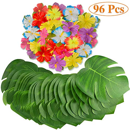 MOMOTOYS Tropical Party Decorations 96Pcs Palm Leaves Tropical Leaves Hibiscus Flowers Luau Party Supplies Hawaiian Decorations Baby Shower Tiki Aloha Jungle Beach Theme Birthday Party Decor]()