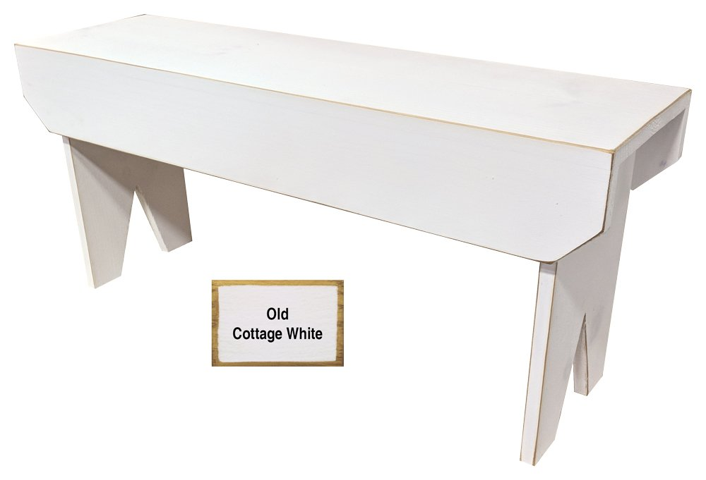 Sawdust City Wooden Bench 3ft Long (Old Cottage White) by Sawdust City