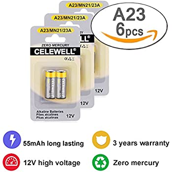 Garage Door Opener A23 Battery 12V Special High Capacity 55mAh Same as 23A 23AE L1028 MN21 CELEWELL Brand 6 Count 3 Years Warranty