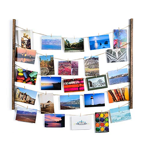 - SS&Y Wood Picture Frame Collage for Multi Photo - Display Wall Decor 30'' x 26'' with 40 Clips - Vertical & Horizontal Display - Multi Pictures Organizer & Hanging Display Frames