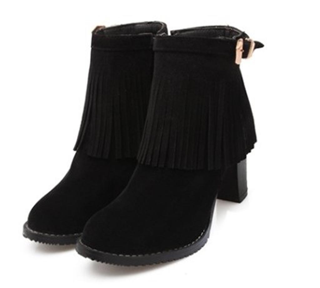 Kitzen Women 's Suede High Heel Pumps Quaste Runde Kopf mit Bowtie Party Dress Stiefel  44 EU|Black