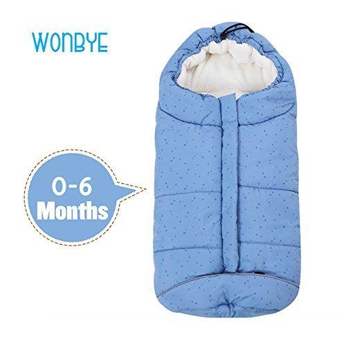 wonbye Cozy Baby Bunting Bag, Fleece Bunting Bag, Stroller Bunting Bag - Blue, 0-6 Months
