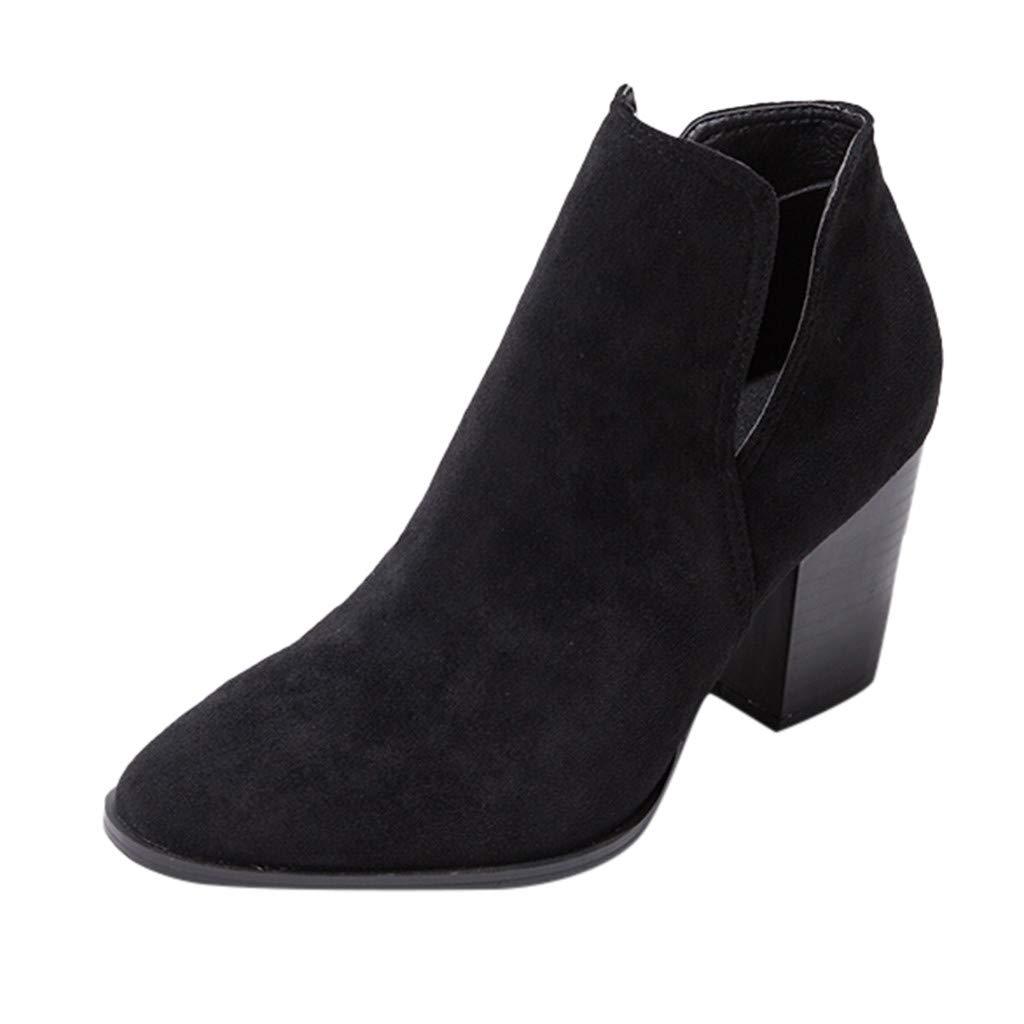 Yanvan Vintage Women Square Heel Suede Slip-On Booties Pointed Short-Tube Boot Ladies Shoes by Yanvan