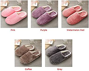 Explopur Candy Color,Women Men Winter Slippers Warm Fluffy Fleeces Soft Bottom Indoor Slip-on Flats Couple Casual Lounge Shoes