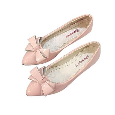 18942fee21905 Amazon.com: Women Ballet Flats Pointy Toe Patent Leather Walking ...