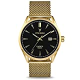 Vincero Luxury Men's Kairos Wrist Watch - Mesh Watch Band - 42mm Analog Watch - Japanese Quartz Movement (Black/Gold)