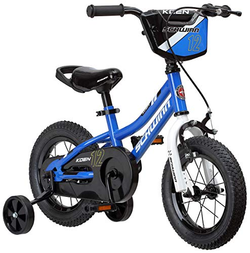 Schwinn Koen Boy's Sidewalk Bike with Training Wheels, Saddle Handle, Chainguard, and Number Plate, 16-Inch Wheels, Blue, SmartStart Technology - Designed to Fit Children's Proportions (Renewed) (Chain Schwinn Bicycle Guard)