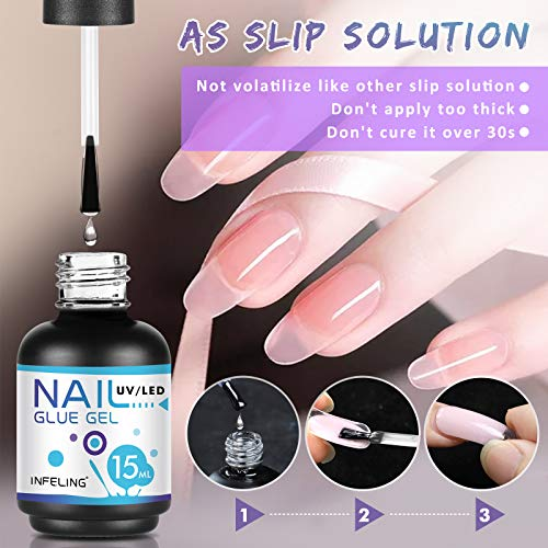 Nail Glue for Acrylic Nails - Nail Glue for Press on Nails(Curing Needed), INFELING 3 in 1 Multifunctional Gel Nail Glue, Glue for False Nails, Base Coat, Slip Solution for Poly Nail Gel