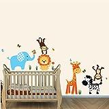 Jungle Joy, Jungle Animal Wall Art, Jungle Stickers, Elephant, Lion, Giraffe, Monkey