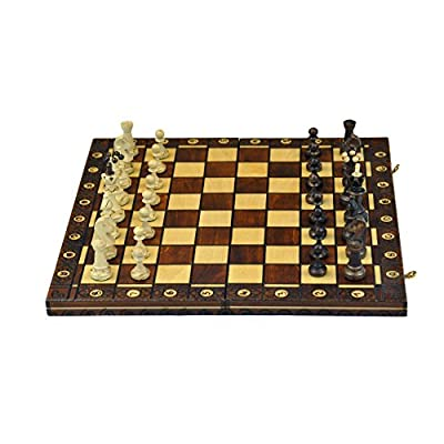 """Wooden Handcarved chess set -weighted 16x16"""" board"""