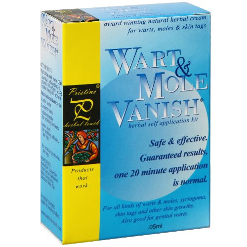 Wart Mole Vanish Award Winning, All Natural, Wart, Mole, Skin Tag, Syringoma & Genital Wart Remover Removal. Remove with only ONE 20 minute application! No daily application of creams, oils or acids.