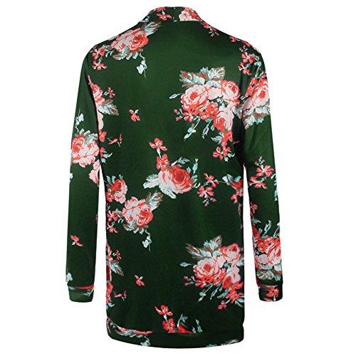 hibote mujeres Floral Impreso manga larga Cardigan Irregular Otoño invierno outwear Verde