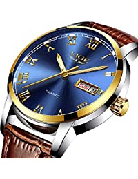 Men's Quartz Date Watch Classic Casual Brown Leather Strap Wrist Watch