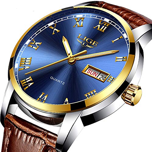 Men's Quartz Date Watch Classic Casual Brown Leather Strap Wrist Watch - Leather Strap Wrist Watch
