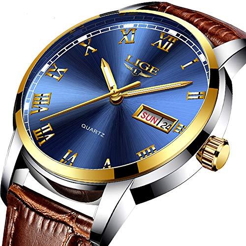 (Men's Quartz Date Watch Classic Casual Brown Leather Strap Wrist Watch)