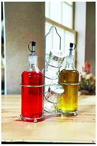 (Circleware 66721 Social Cruet Glass 5-Piece Set of Olive Oil and Vinegar Dispenser Bottles Pourer Spouts & Matching Salt and Pepper Shakers with Metal Caddy, Home Kitchen Decor, 14 oz, 3 oz, Clear)