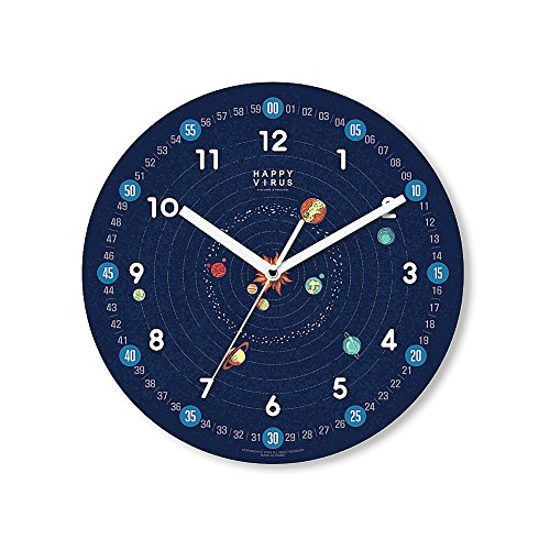 HappyVirus 11.22'' Educational Wall Clock, Children's Time Telling Teacher, Silent Non Ticking Home Decoration (Planet) #2106 by HappyVirus