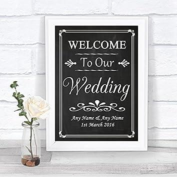 Pizarra estilo Bienvenido a nuestra boda personalizada boda ...