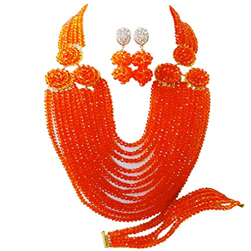 acuzv 12 Rows Beaded Strand Necklace African Beads Jewelry Set for Brides Bridesmaids Wedding Bridal Jewelry Sets (Orange) -