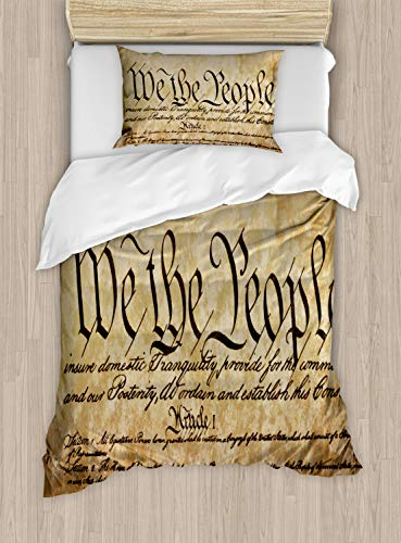 Ambesonne United States Duvet Cover Set, Vintage Constitution Text of America National Glory 4th of July Image, Decorative 2 Piece Bedding Set with 1 Pillow Sham, Twin Size, Pale Brown