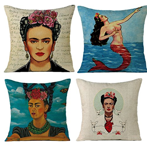 JLHua 4 pcs Frida Kahlo Self-Portrait Cotton Linen Pillow Case Cover,18