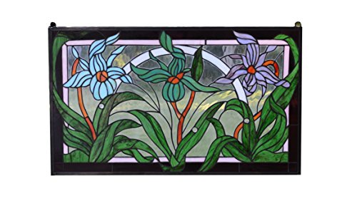 e Tiffany Style stained glass Iris window panel ()