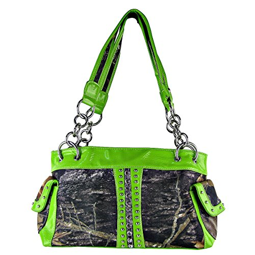 Colors Handbag with Wallet Rhinestone Matching Multi Shoulder Green Style New Purse in Camouflage wfPnxIHOqa