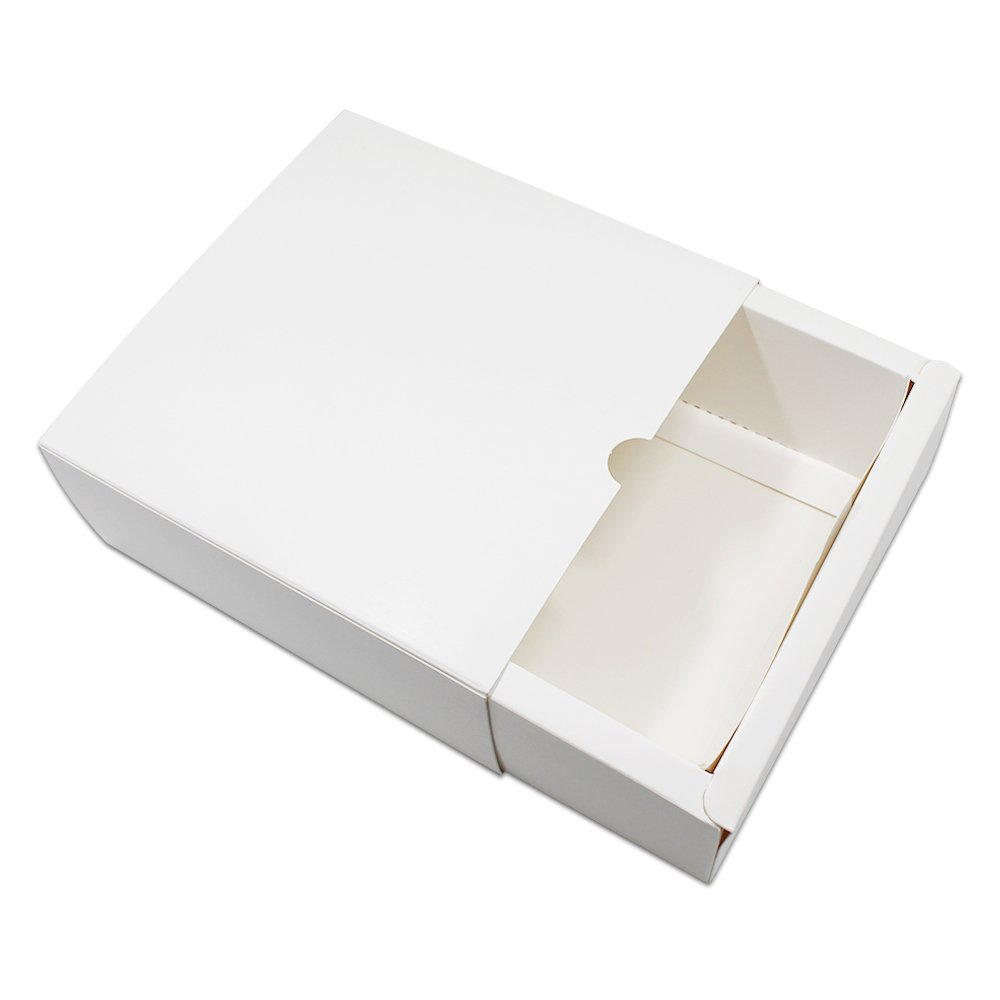 10 PCS 5.7''x5.7''x2.4'' Wedding Party Gift Package Box Drawer Style Candy Small Cake Handmade Craft Packaging White Kraft Paper Box (14.5x14.5x6cm) PABCK