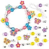 Butterfly Charm Bracelet Kits for Children to Make Personalize & Wear. Creative Jewellery Making Craft Set for Kids (Pack of 3)