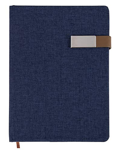 A5 Journal Notebook - Fabric Cover Notebook with Magnetic Clasp Closure for Diary, Business Professional, Office, 192 Pages, Navy Blue Hard Cover, Lined Paper, 5.7 x 8.5 Inches ()